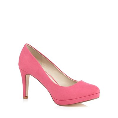 Red Herring Pink suedette court shoes