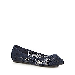 Red Herring - Navy floral lace flat shoes