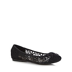 Red Herring - Black floral lace slip-on shoes