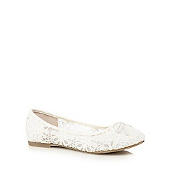 Red Herring - Cream floral lace flat shoes