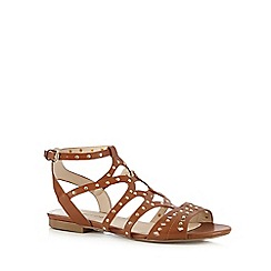 Red Herring - Tan studded flat sandals