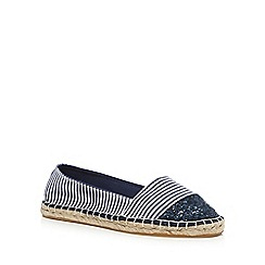 Red Herring - Navy striped print glitter toecap espadrilles