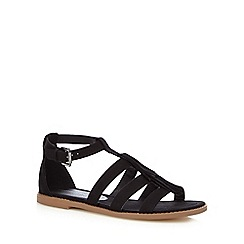 Red Herring - Black suedette fringed sandals
