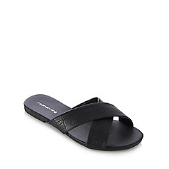 Red Herring - Black textured reptile-effect sandals
