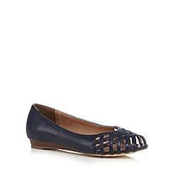 Mantaray - Navy lattice cutout low wedge heel shoes