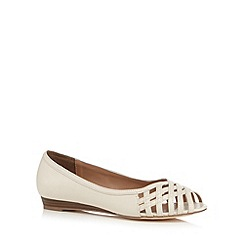 Mantaray - Off white lattice cutout low wedge heel shoes
