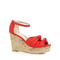 Red Herring - Red textured bow high wedge sandals