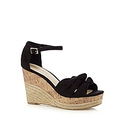 Red Herring - Black textured bow high wedge sandals
