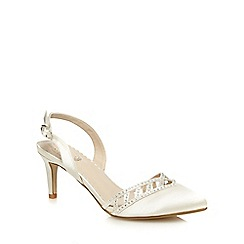 Debut - Ivory diamante embellished low court shoes