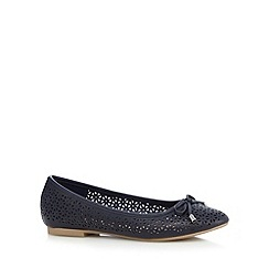 Mantaray - Navy cut-out bow applique flat shoes