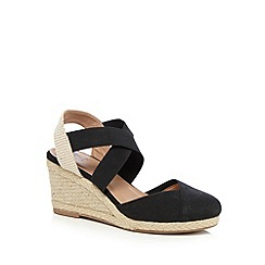 Mantaray - Black wedge heeled espadrilles