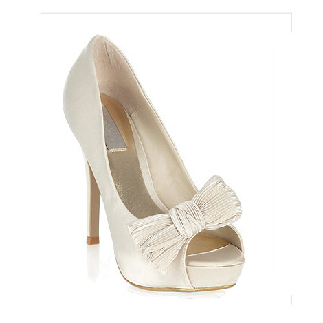 Debut - Special edition - ivory crinkle bow peep toe courts