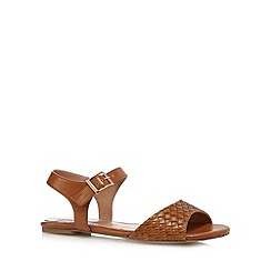 Mantaray - Tan weave detail flat sandals