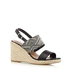 Mantaray - Black Aztec high wedge sandals
