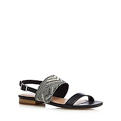 Mantaray - Black Aztec low heel sandals