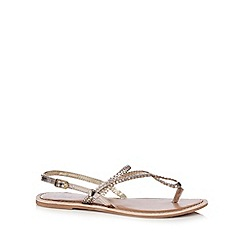 Mantaray - Gold leather plaited strap sandals