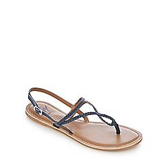 Mantaray - Navy leather plaited strap sandals
