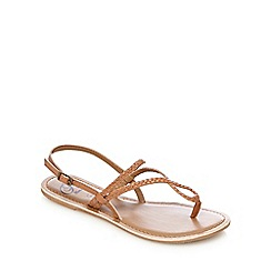 Mantaray - Tan leather plaited strap sandals