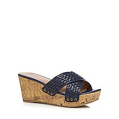 Mantaray - Navy woven cross strap mid wedge heel sandals