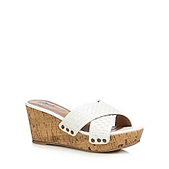 Mantaray - White woven cross strap mid wedge heel sandals