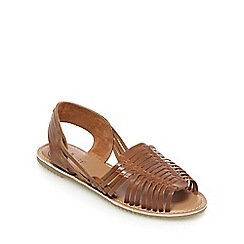 Mantaray - Tan leather slingback sandals