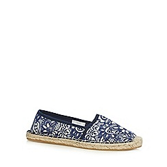 Mantaray - Navy floral textured espadrilles