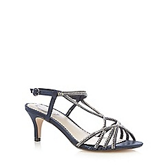 Debut - Navy diamante embellished low heel sandals
