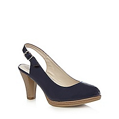 Good for the Sole - Navy patent sling back high wide fit court shoes