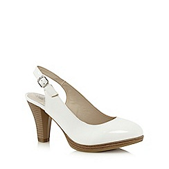 Good for the Sole - White patent sling back high wide fit court shoes