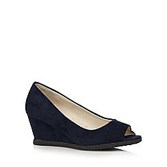 Good for the Sole - Navy suedette peep toe wide fit wedge shoes