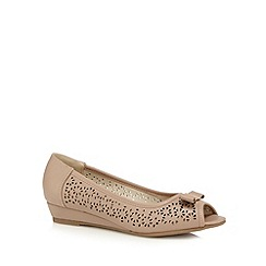 Good for the Sole - Beige cut-out peep toe wide fit mid wedge court shoes