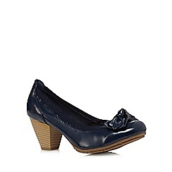 Good for the Sole - Navy bow patent wide fit shoes