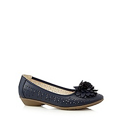 Good for the Sole - Navy flower applique wide fit slip-on shoes