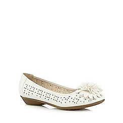 Good for the Sole - White flower applique wide fit slip-on shoes