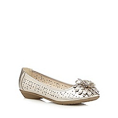 Good for the Sole - Gold metallic flower applique wide fit slip-on shoes