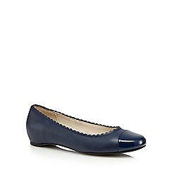 Good for the Sole - Navy patent toe cap wide fit slip-on shoes