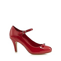 Good for the Sole - Red patent bow applique wide fit high court shoes