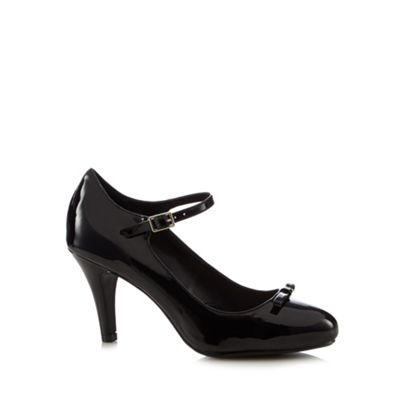 Good for the Sole Black patent bow applique wide fit high