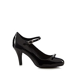 Good for the Sole - Black patent bow applique wide fit high court shoes
