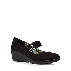 Good for the Sole - Black suedette wide fit wedge shoes