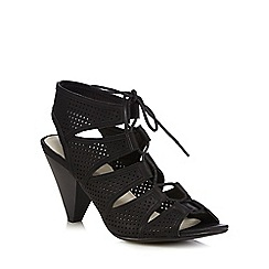 Good for the Sole - Black cut-out lace up wide fit sandals