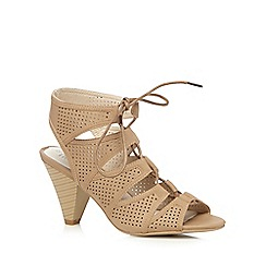Good for the Sole - Taupe cut-out lace up wide fit sandals