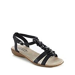 Good for the Sole - Black flower diamante applique wide fit low sandals