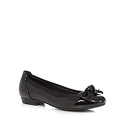 Good for the Sole - Black patent bow applique wide fit low slip-on shoes