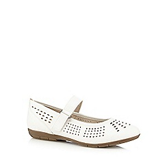 Good for the Sole - White 'Gemima' wide fit flat shoes