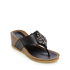 Good for the Sole - Black jewelled wide fit wedge heeled sandals