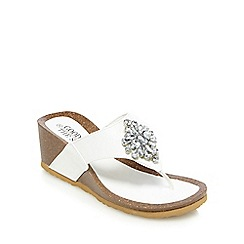 Good for the Sole - White jewelled wide fit wedge heeled sandals