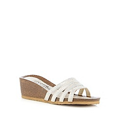 Good for the Sole - Light gold glow strap wedge sandals