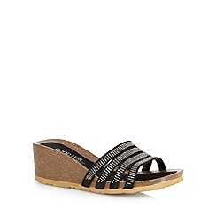 Good for the Sole - Black studded mid wedge wide fit sandals
