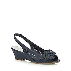 Good for the Sole - Navy flower applique wide fit peep toe sling back sandals